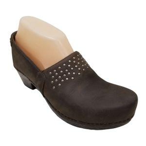 Dansko MAVIS Brown Studded Clogs 37 Comfort Leathe
